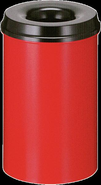 Papierkorb, selbstlöschend, rot/schwarz, Inhalt: 20 l