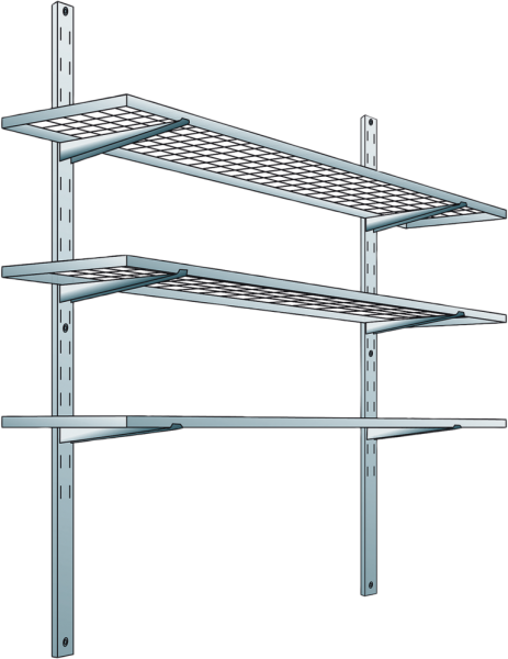 Shelf system with 3 storage levels