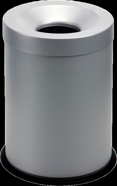 Papierkorb, selbstlöschend grau, Inhalt: 15 l