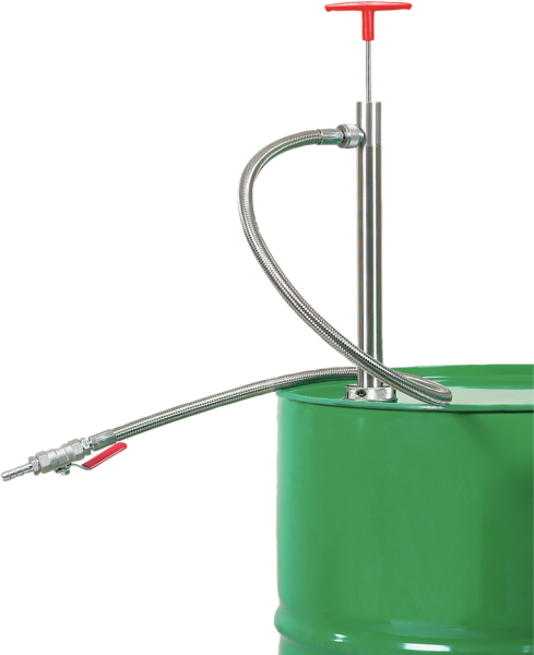 Drum pump, stainless steel with PTFE outlet hose, 1.2 m