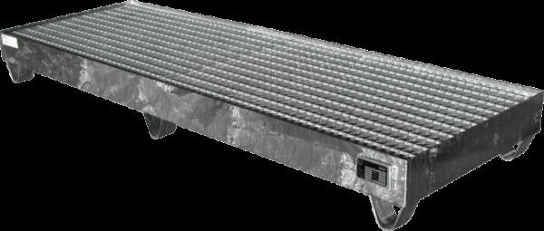 Auffangwanne aus Stahlblech, verzinkt, für 4 x 200 l-Fass