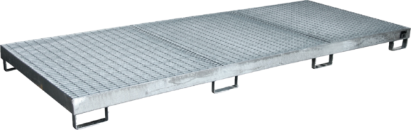 Collection tray of sheet steel galvanised for 10 x 200 l-drum