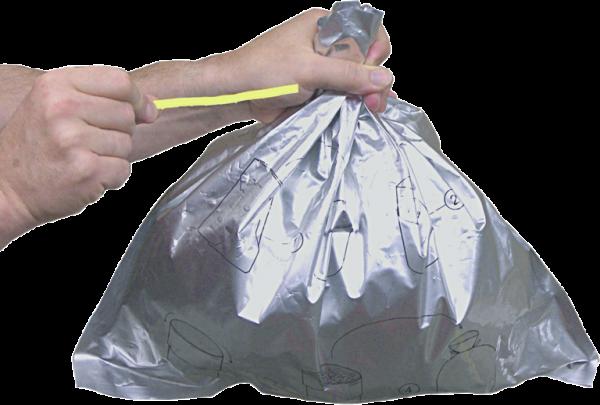 Abfallbeutel, 10er Pack, brandbeständig, Verschlußband
