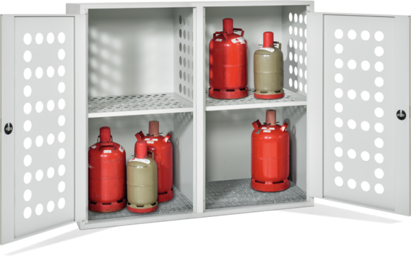 Gas cylinder box with 2 doors perforated doors and side panels