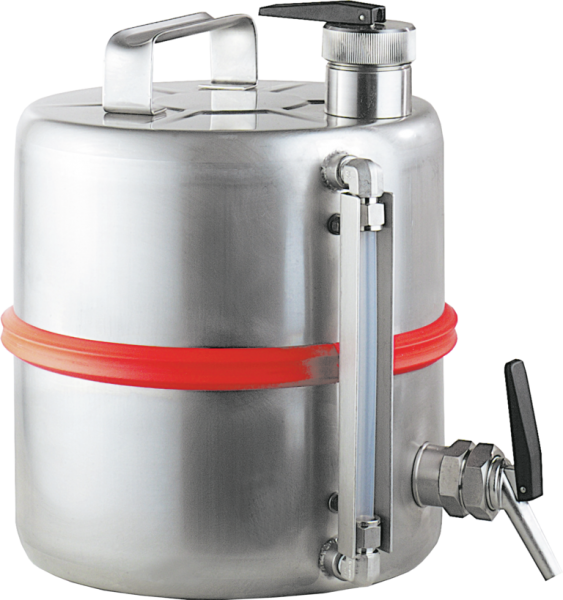 Stainless steel dispensing can with tap, cap. 10 l