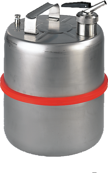 Stainless steel dispensing can with metering tap, cap. 10 l