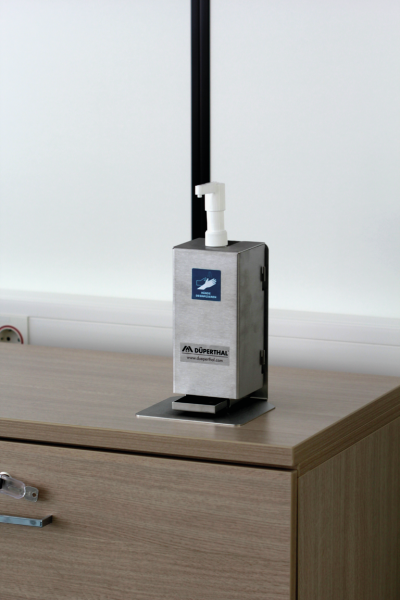 Set of disinfectant as table stand with dispenser holder