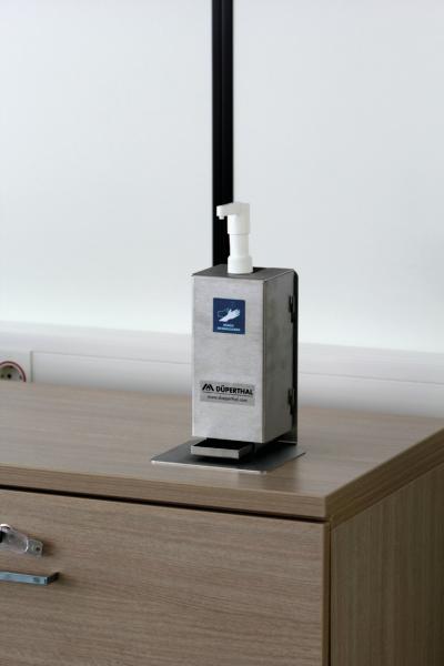 Desinfektionsmittel-Set als Tischaufsteller mit Spenderhalter aus Edelstahl