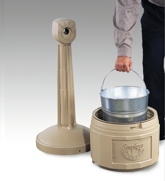HDPE collection container for cigarette butts, colour beige