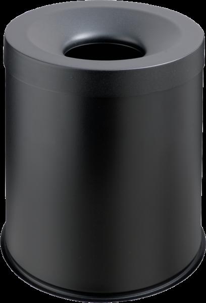 Papierkorb, selbstlöschend schwarz, Inhalt: 15 l