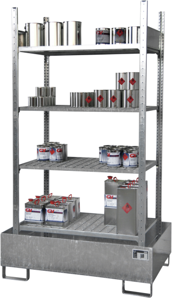 Hazardous substance shelving with spillage tray