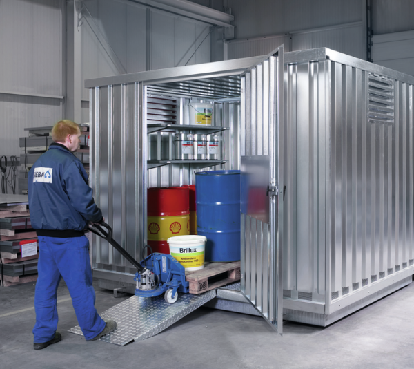 Hook-in-ramp for safety storage containers