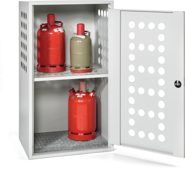 Gas cylinder box with 1 door perforated door and side panels
