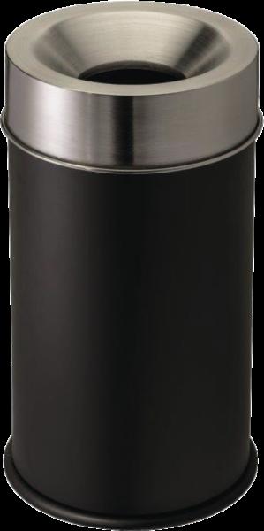 Self-extinguishing waste-paper basket black/stainless steel, 50 l