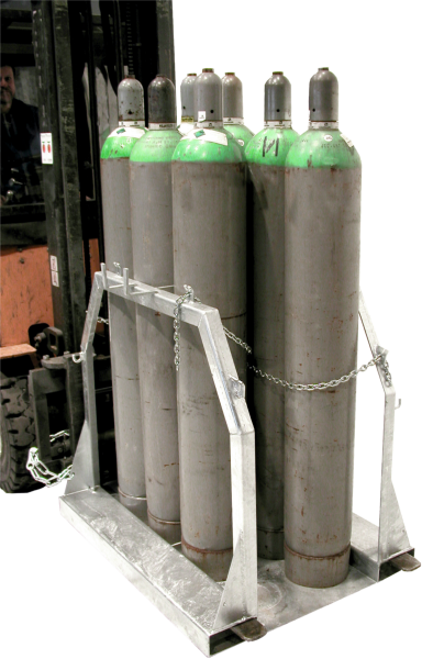 Gas cylinder pallets for 8 x gas cylinder dia. 250 mm