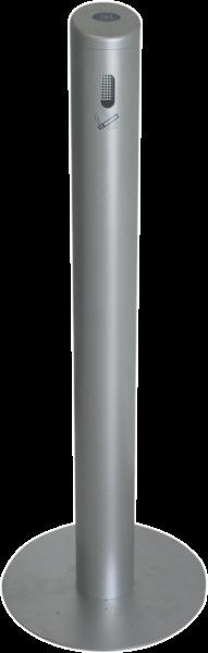 Sammelbehälter für Zigaretten- kippen aus Aluminium, silber